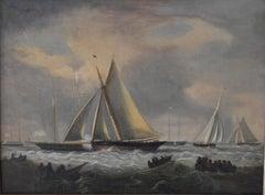 Naive 19th century marine oil on canvas