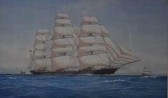 The Cutty Sark at sea under full sail