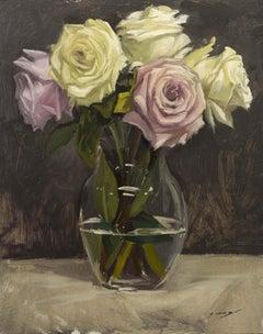 Study of White & Pink Roses on Glass Vase (framed)