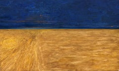 Crop circles blue and yellow painting on canvas by Volodymyr Zayichenko