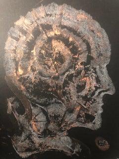 Drawing on black paper 20181101Kensington London UK 30x20cm by Vova Zayichenko