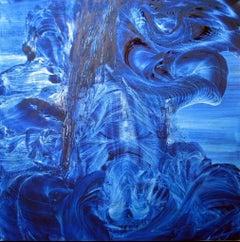 Oil on canvas painting RGB Live Apperception HELIO BLUE by Volodymyr Zayichenko