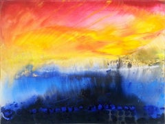 Yellow blue painting on canvas Sunrise memories #1 2015 30x40cm by  Zayichenko