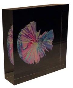 Contemporary digital 3D art print on selfstanding glass, Indigo Series #4501