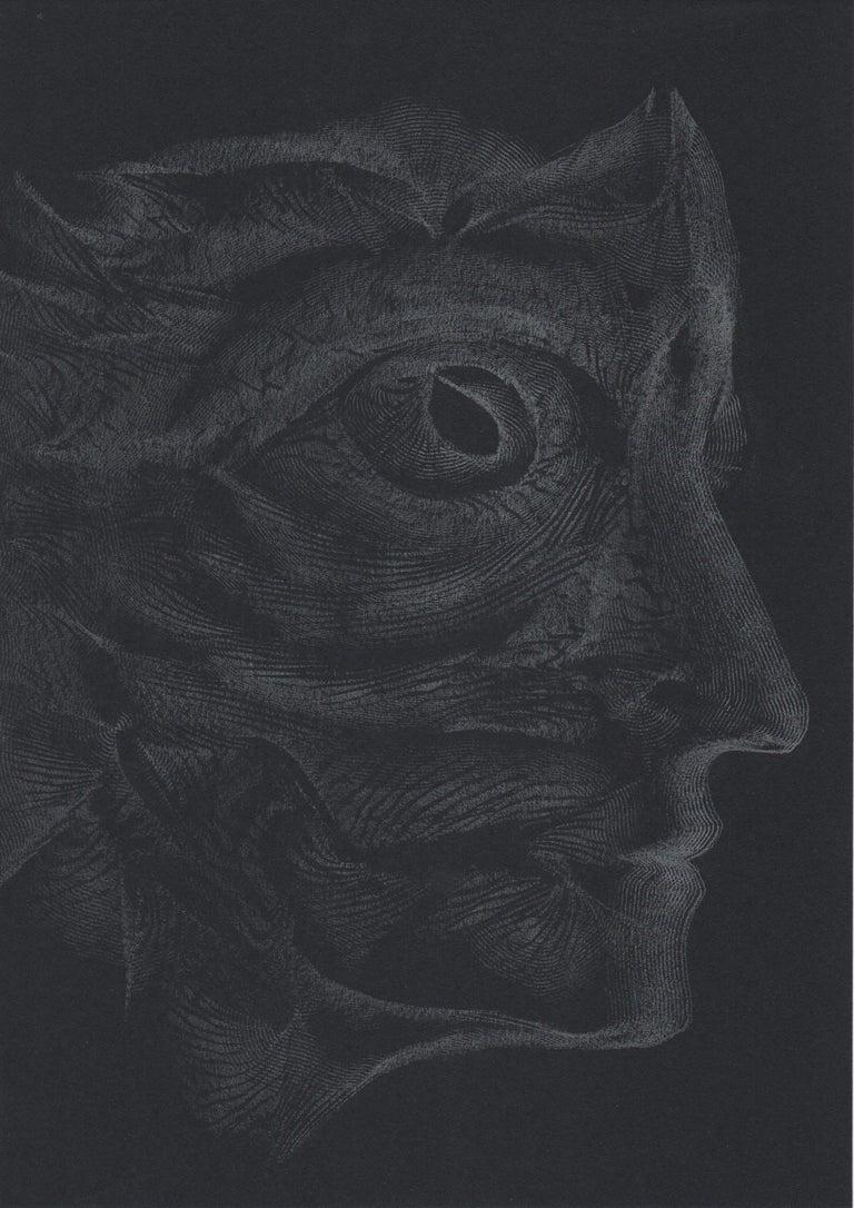 Volodymyr Zayichenko Portrait - 912019 TRSQ 1251A SSSS Chelsea London UK Drawing silver pencil on black paper A4