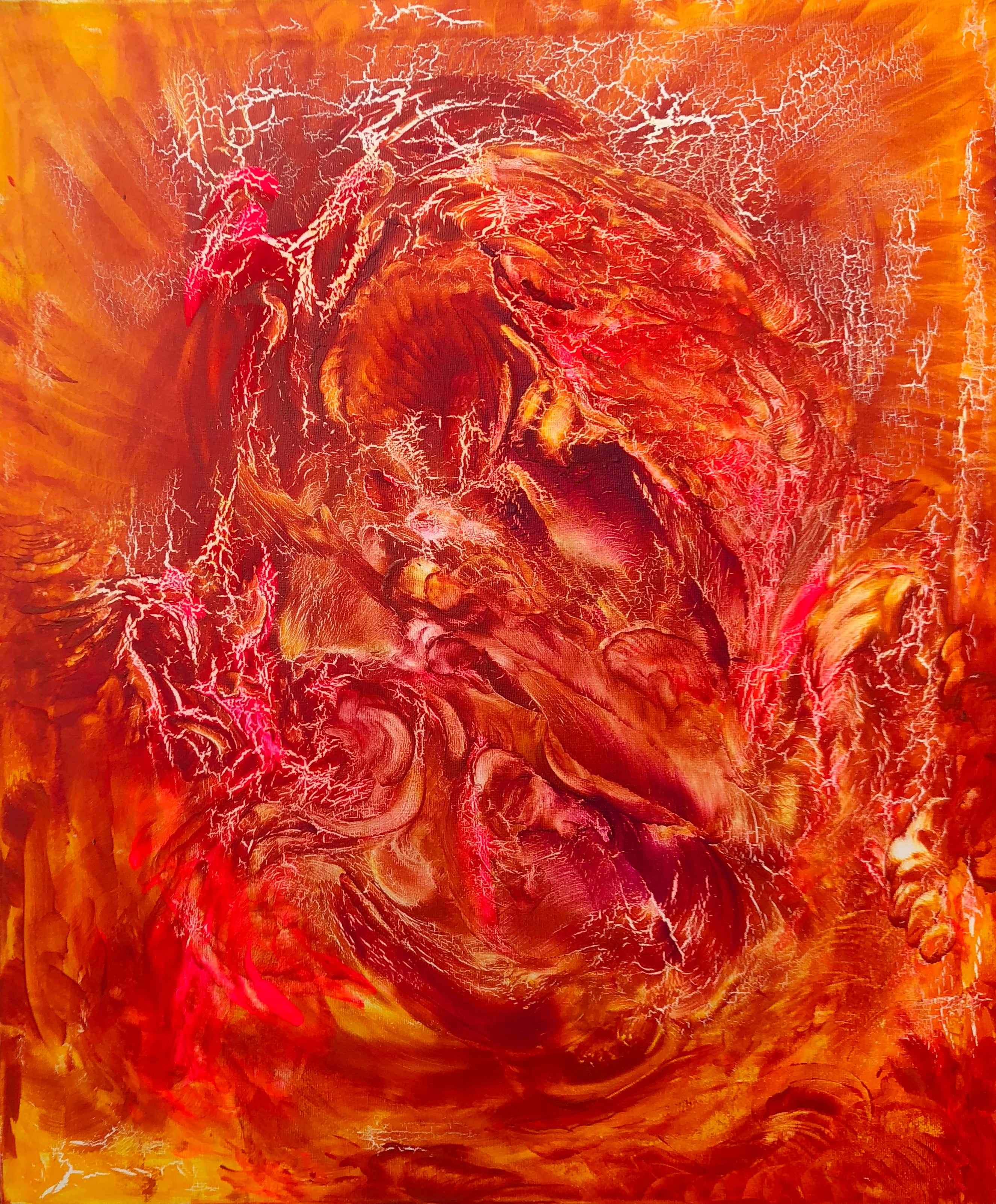 Oil painting on canvas contemporary art 21st century red orange yellow