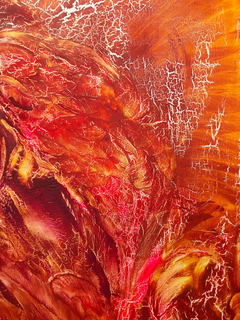 Oil painting on canvas -  contemporary art 21st century - red, orange, yellow 2