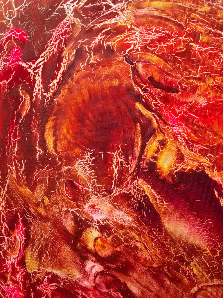 Oil painting on canvas -  contemporary art 21st century - red, orange, yellow 3