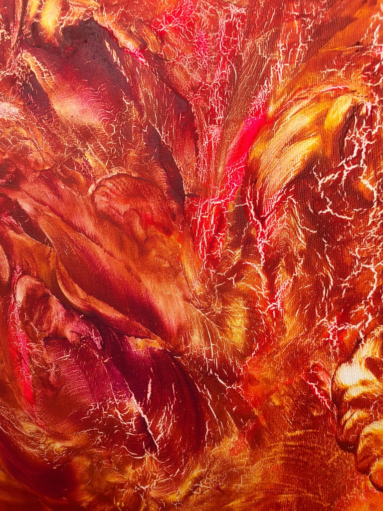 Oil painting on canvas -  contemporary art 21st century - red, orange, yellow 4