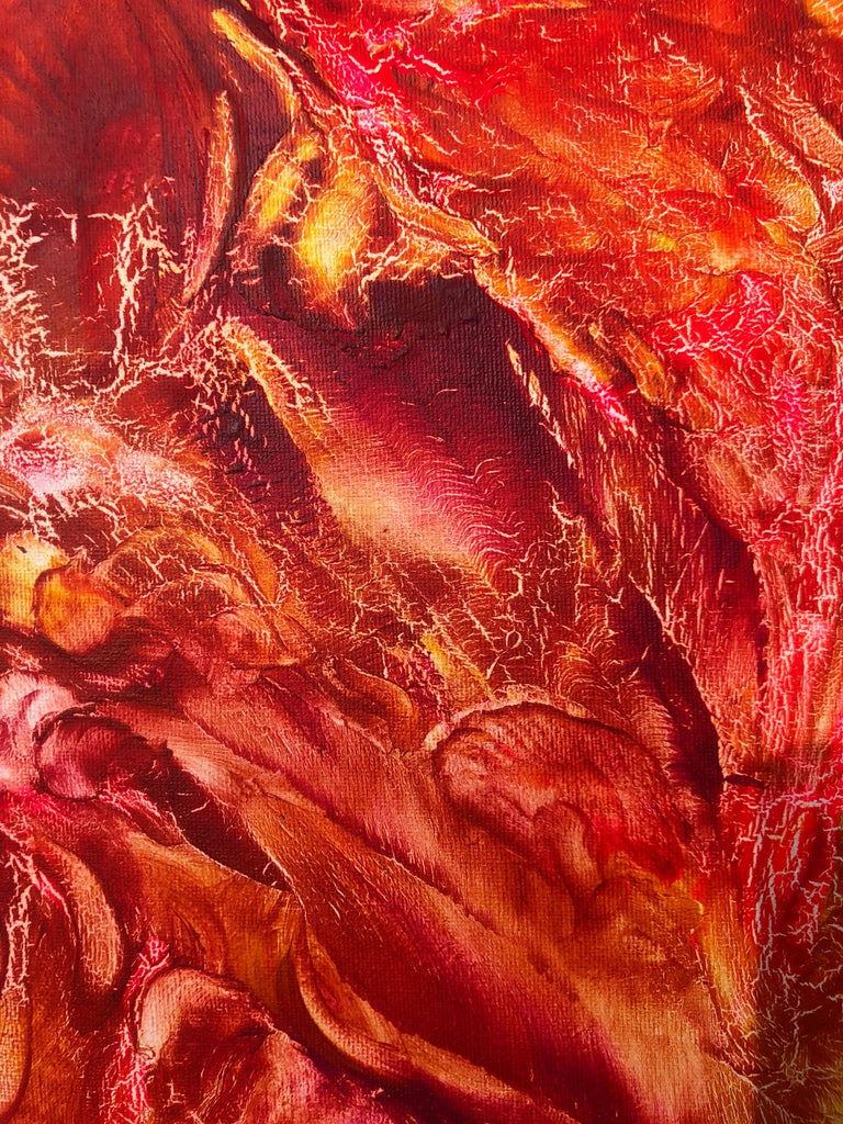 Oil painting on canvas -  contemporary art 21st century - red, orange, yellow 6