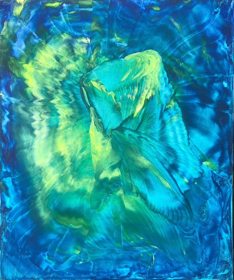 Contemporary abstract painting on canvas by Volodymyr Zayichenko In blue green and white hue created in 2016. Unique painting on canvas 60x50cm is guaranteed to be included in a Catalogue Raisonne and provided with a blockchain based Certificate of