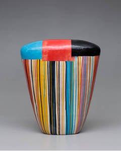 "Jun Kaneko - 27"" Tall Dango Form with Colorful Design by Jun Kaneko, Glazed Ceramic, 2014"