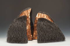 Contemporary Mixed Media Sculpture, Waxed Linen, Copper, and Iron