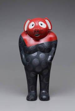 "Jun Kaneko - 33"" Tall Red and Black Ceramic Tanuki Sculpture with Dot Pattern by Jun Kaneko"