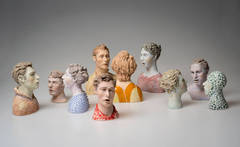 """Conversations"", 10 Piece Ceramic Sculpture Composition"