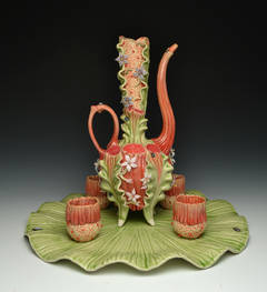 """Ewer with Tray and Cups"", Porcelain Sculpture with Glass Detail"