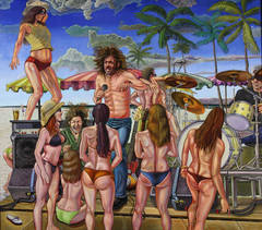"""Sur La Plage A Go Go"", Figruative Oil Painting on Wooden Panel, Framed"