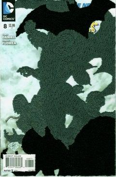 """Batman #8"", Framed, Contemporary, Embroidery, Mixed Media, Thread, Paper"