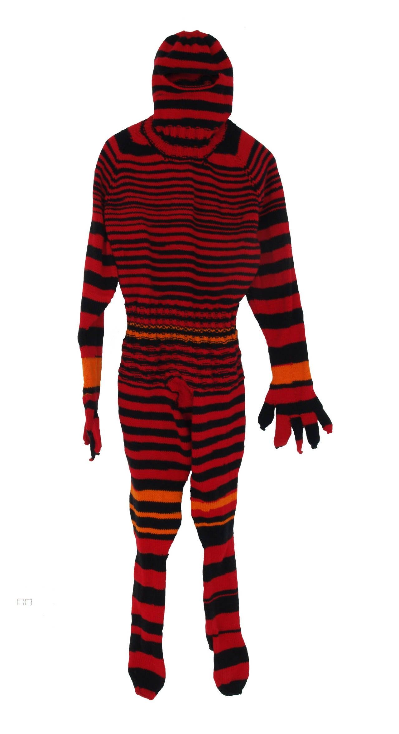 """Spiritman 3"", Contemporary, Fine Craft, Pattern, Stripes, Hand Knit, Fiber"