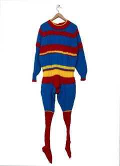 Sweaterman 9 by Mark Newport, Hand Knitted Yarn Costume and Mixed Media, 2011
