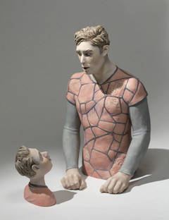 Video Game Man by Beverly Mayeri, Acrylic and Glazes on Ceramic Sculpture, 2013
