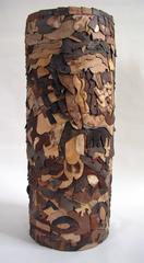 """Glyph"", Wood and Bark Sculpture"