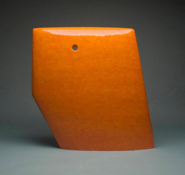 """Orange Number 364"" , Minimalist Ceramic Sculpture with Vibrant Dripping Glaze"