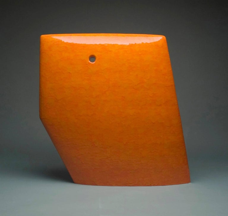 James Marshall Abstract Sculpture - Contemporary Abstract Minimalist Ceramic Sculpture with Bright Orange Glaze