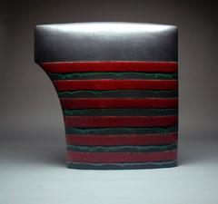 Red / Black #362, Ceramic Sculpture with Glaze and Pattern by James Marshall