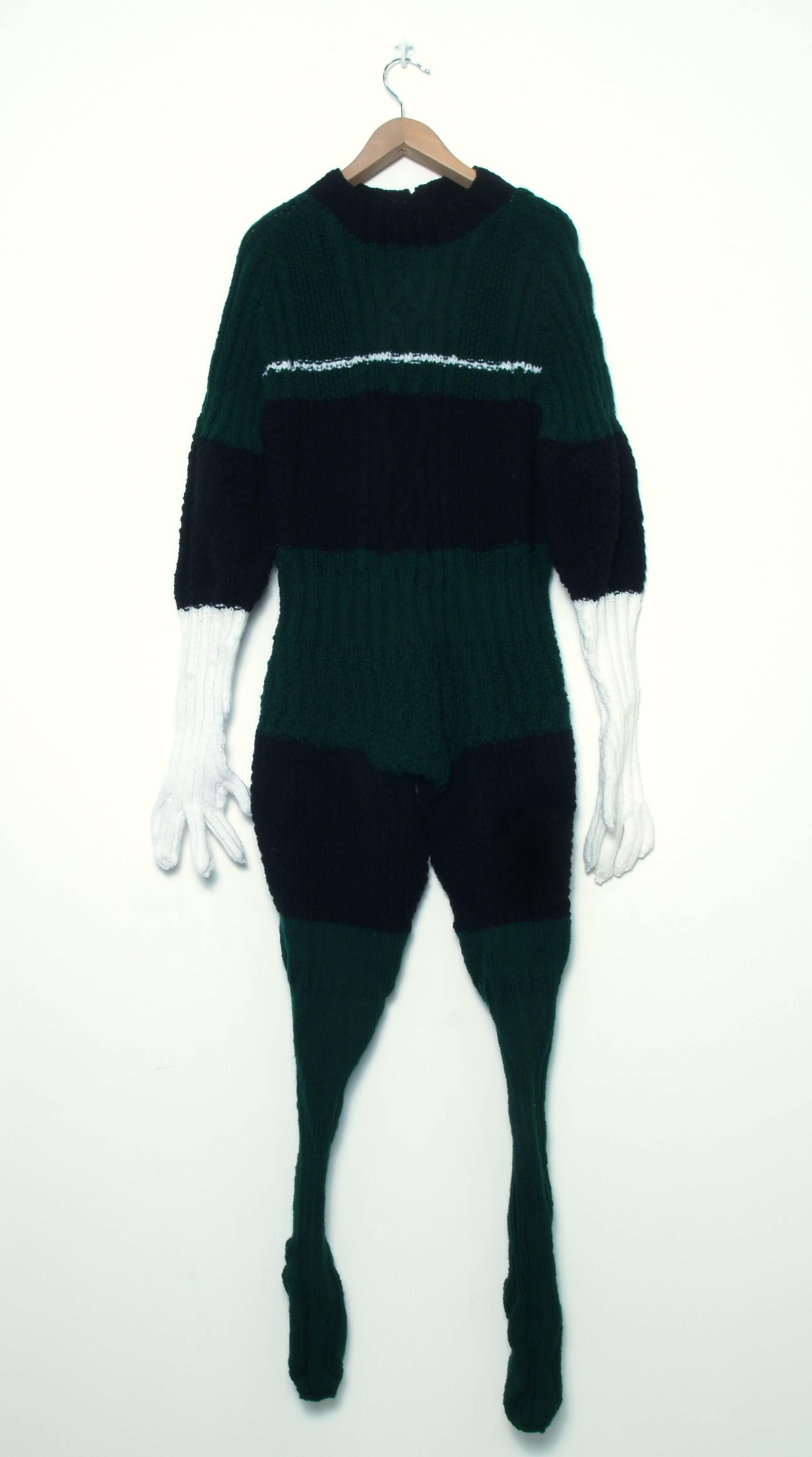 """Sweaterman 8"", Contemporary, Sculpture, Mixed Media, Hand Knit, Soft, Fiber"