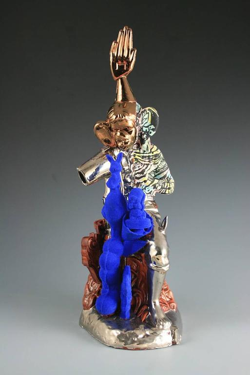 """Gold Hand"", Earthenware Sculpture with Flocking and Luster"