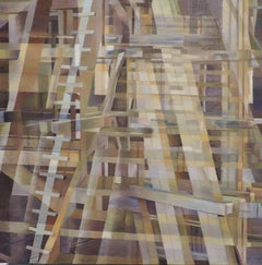 """""""Wooden Structure One"""", Contemporary, Abstract, Oil, Painting, Wooden Panel"""