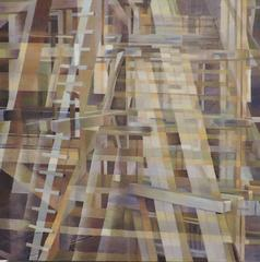 """Wooden Structure One"" , Abstract Geometric Oil Painting on Wood Panel"