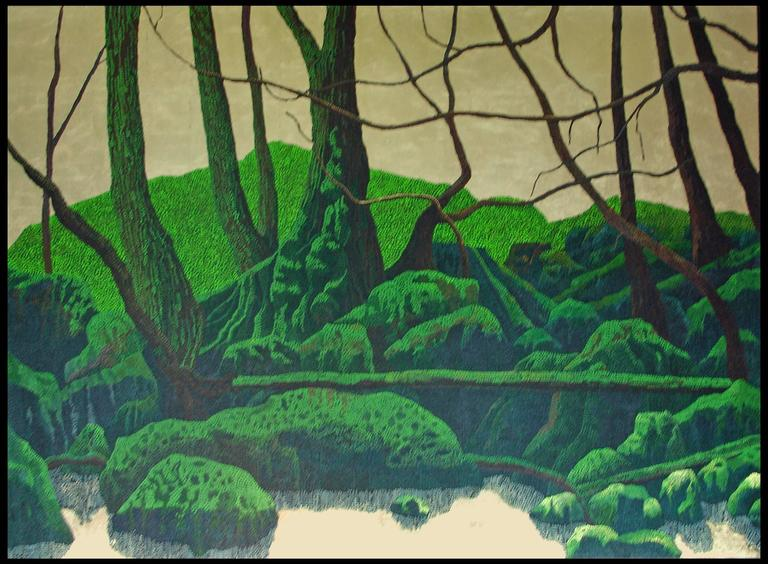 "Miles Bair Landscape Painting - ""Green Ridge"", Oil Painting on Canvas with Gold Leaf"