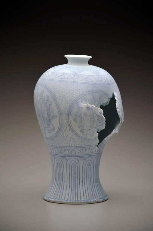 Maebyeong Vase with Peonies by Steven Young Lee, Porcelain, Cobalt Inlay, Glaze For Sale 2