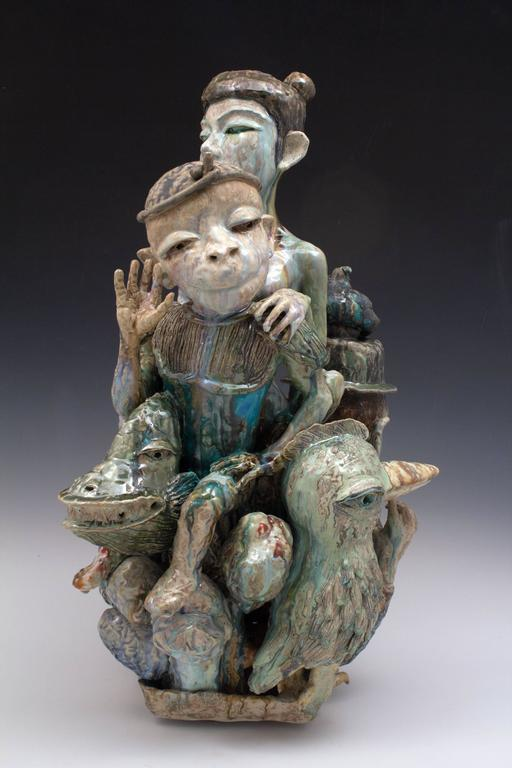 """Year of the Monkey"", Figurative Ceramic Sculpture with Colorful Glazing"