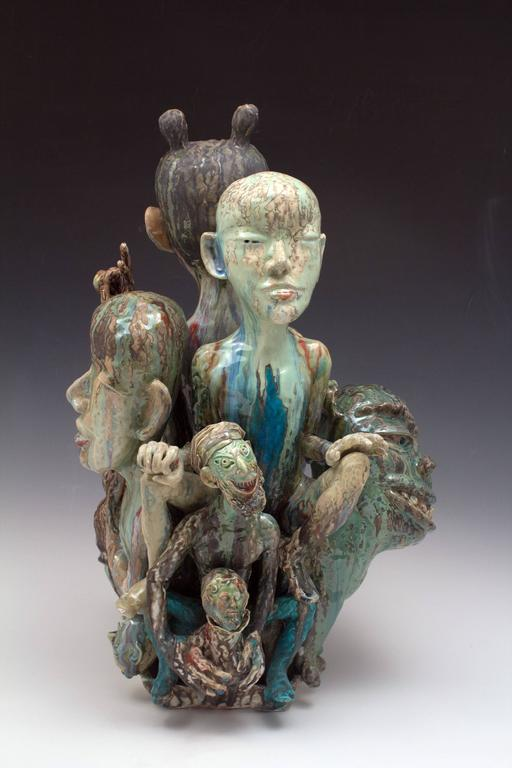 """Be My Guest"", Figurative Abstract Ceramic Sculpture with Colorful Glazing"