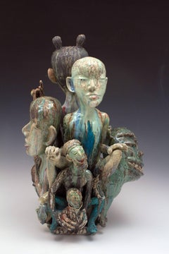 Contemporary Figurative Abstract Sculpture, Ceramic, Glaze, Porcelain, Narrative