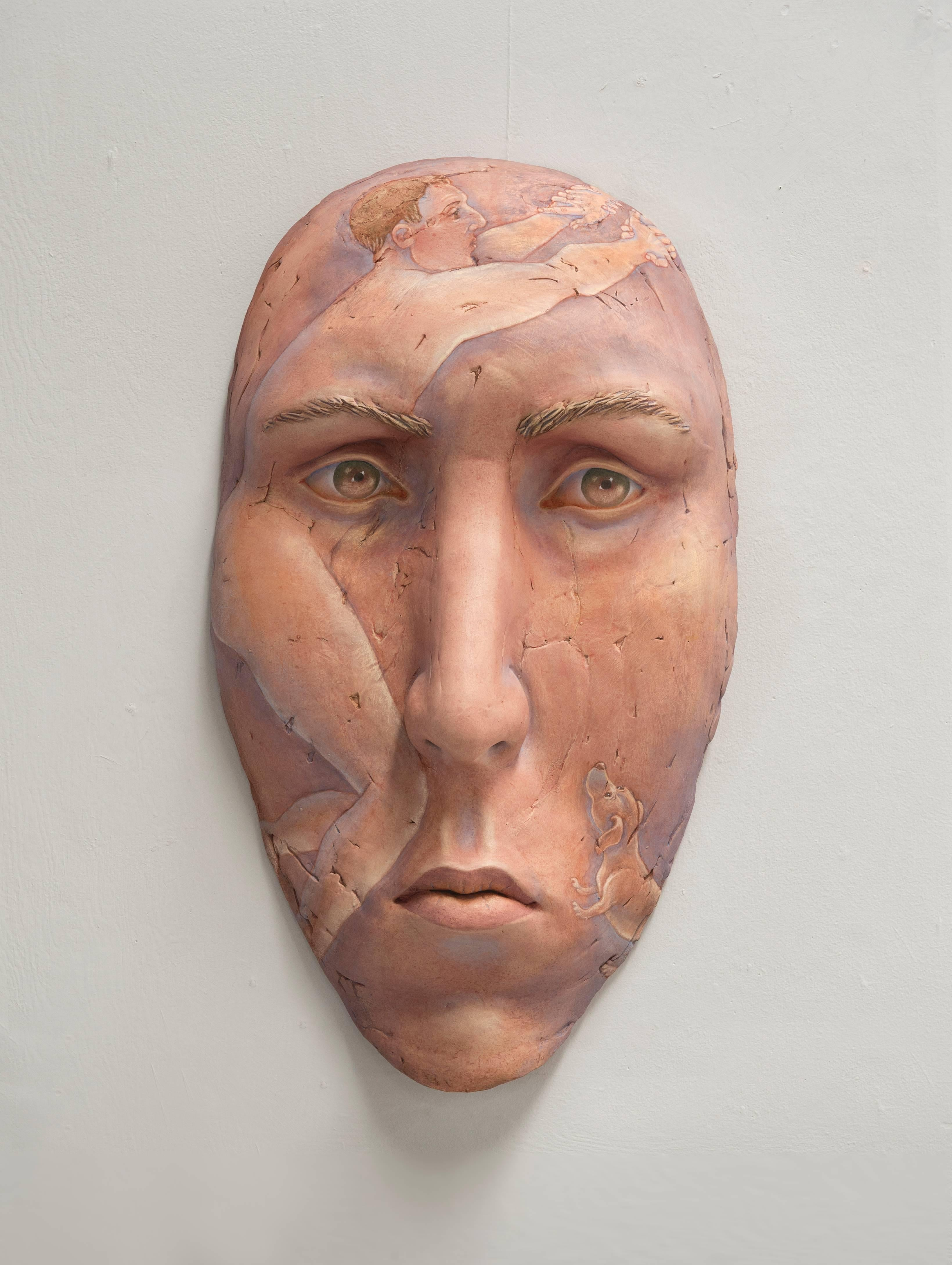 """Within Reach"", Contemporary, Ceramic, Sculpture, Painted, Portrait, Figurative"