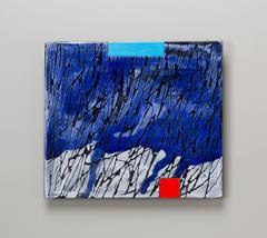 Small Raku Wall Slab by Jun Kaneko, Wall Mounted Ceramic with Painterly Glazing