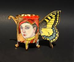 Swallowtail Butterfly Cup by Irina Zaytceva, Hand Painted Porcelain Cup Form