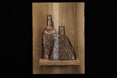 """Grey Streak Transparency"", Waxed Linen Sculpture with Mixed Media, Copper, Iron"