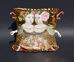 """""""Twins, Vase"""", Hand Painted Illustration on Porcelain Form"""