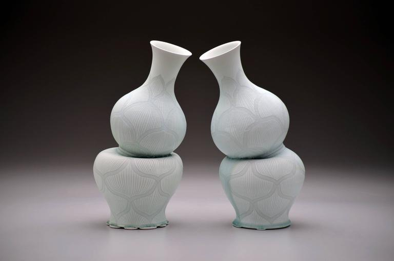 Steven Young Lee - Gourd Vases with Lotus Pattern by Steven Young Lee, Porcelain Sculpture, 2016 1