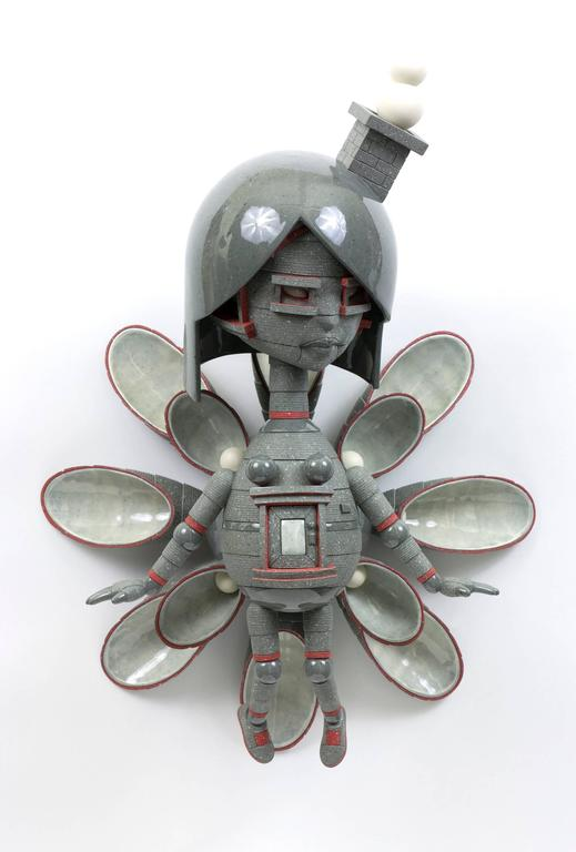 "Calvin Ma Abstract Sculpture - ""Wallflower"" , Figurative Wall Hanging Ceramic Sculpture"