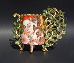 """Walk in the Forest"", Porcelain Sculpture with Gold Luster and Illustration"