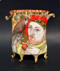 Falconers by Irina Zaytceva, Porcelain Sculpture, Gold Luster and Illustration