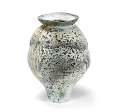 Wood Fired Porcelain Jar with Iron Particles, Created 2016