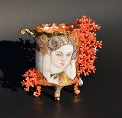 Merboy by Irina Zaytceva , Hand Sculpted Porcelain Cup with Illustration