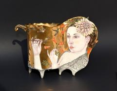 Contemporary Porcelain Sculpture with Gold Luster and Hand Painted Illustration